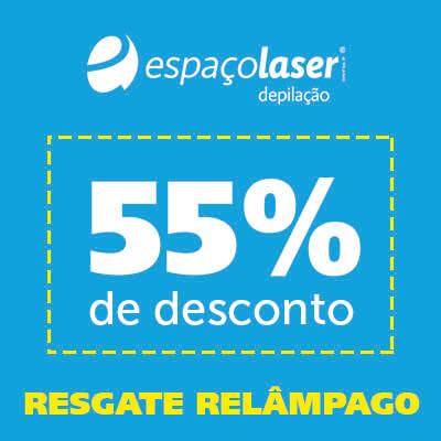 Cupom de 55% em desconto Espaçolaser para ser utilizado na compra de pacotes de 10 sessões.